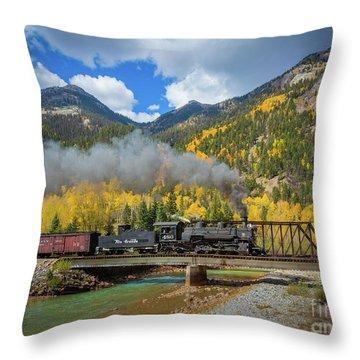 Durango-silverton Twin Bridges Throw Pillow by Inge Johnsson