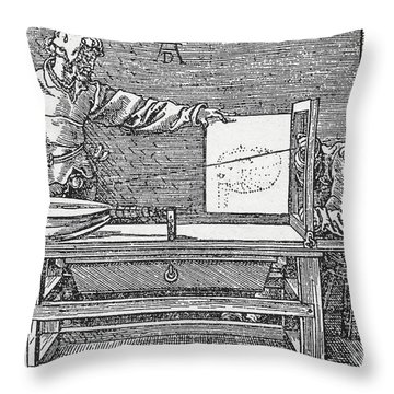 Durers Perspective Drawing Of A Lute Throw Pillow by Science Source