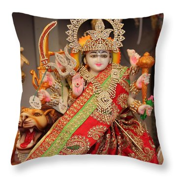 Durga In Madho Bhag, Mumbai Throw Pillow by Jennifer Mazzucco