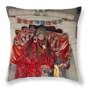 Durga On The Yamuna, Vrindavan Throw Pillow by Jennifer Mazzucco