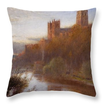 Durham Cathedral Throw Pillow by Albert Goodwin