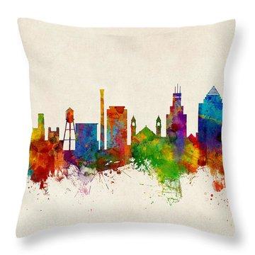 Durham North Carolina Skyline Throw Pillow