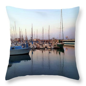 Dusk At Old Fisherman's Wharf Throw Pillow by Gina Savage