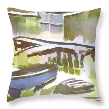Dusk At The Boat Dock Throw Pillow by Kip DeVore