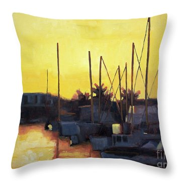 Dusk At The Marina Throw Pillow