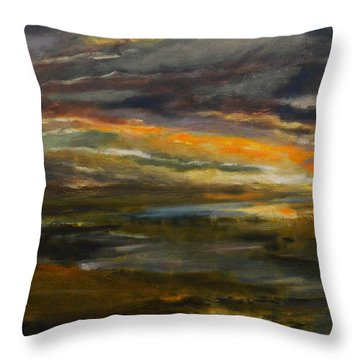 Dusk At The River Throw Pillow