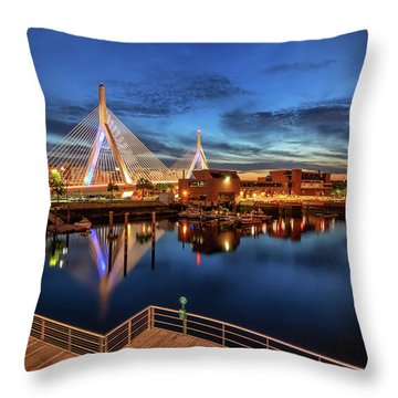 Dusk At The Zakim Bridge Throw Pillow