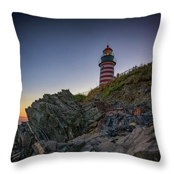 Throw Pillow featuring the photograph Dusk At West Quoddy Head Lighthouse by Rick Berk