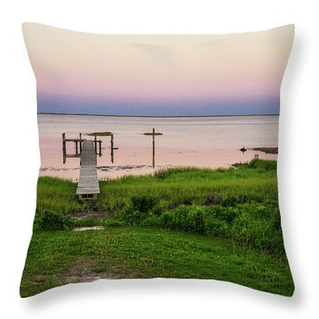 Dusk At Battle Point, Accomac, Virginia Throw Pillow