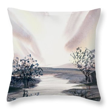 Dusk Creeping Up The River Throw Pillow