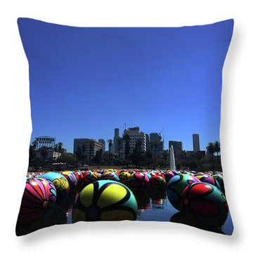 Throw Pillow featuring the photograph Dusk Finds The Spheres Of Macarthur Park by Lorraine Devon Wilke
