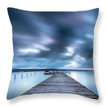 Dusk In Blue Satin Throw Pillow by Evgeni Dinev