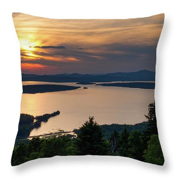 Throw Pillow featuring the photograph Dusk, Mooselookmeguntic Lake, Rangeley, Maine -63362-63364 by John Bald