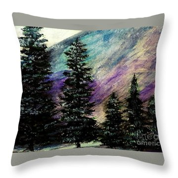 Dusk On Purple Mountain Throw Pillow