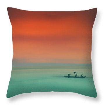 Dusk On The Lake Throw Pillow by Marji Lang
