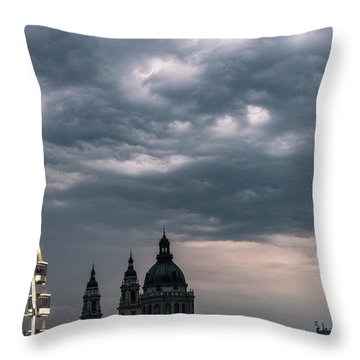 Throw Pillow featuring the photograph Dusk Over Budapest by Alex Lapidus