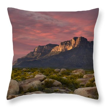 Dusk Over El Capitan Guadalupe Peak Throw Pillow