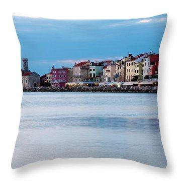 Dusk Over Piran Throw Pillow by Rae Tucker