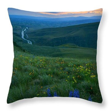 Dusk Over The Yakima Valley Throw Pillow by Mike  Dawson