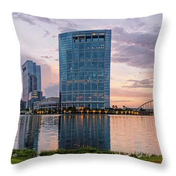 Dusk Panorama Of The Woodlands Waterway And Anadarko Petroleum Towers - The Woodlands Texas Throw Pillow