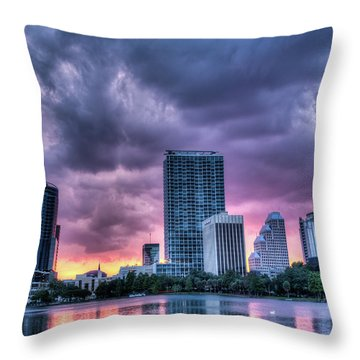 Dusky Downtown Orlando, Florida Throw Pillow