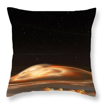 Throw Pillow featuring the digital art Dust Storm On The Red Planet by Richard Ortolano