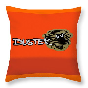 Throw Pillow featuring the photograph Duster Emblem by Mike McGlothlen