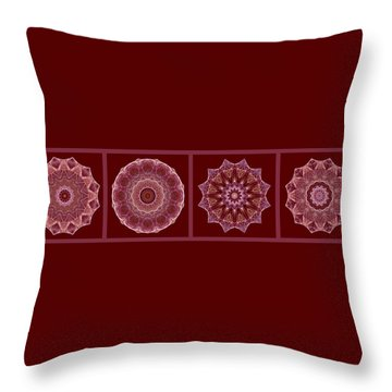 Dusty Rose Mandala Fractal Panel Throw Pillow