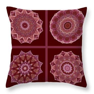 Dusty Rose Mandala Fractal Set Throw Pillow