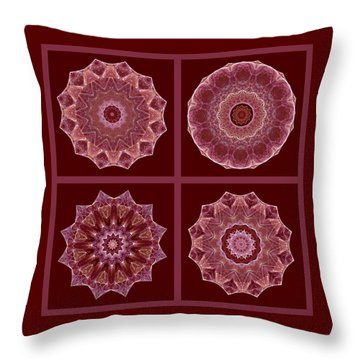 Dusty Rose Mandala Fractal Set Throw Pillow