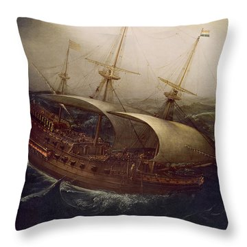 Dutch Battleship In A Storm Throw Pillow by Hendrick Cornelisz Vroom