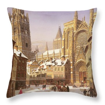 Dutch Cathedral Town Throw Pillow
