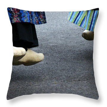 Dutch Dancers In Holland Throw Pillow by Michelle Calkins