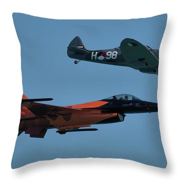Dutch F-16 And Spitfire Throw Pillow