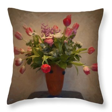 Dutch Flowers Blooming Throw Pillow