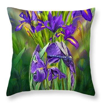 Dutch Iris In Iris Vase Throw Pillow by Carol Cavalaris