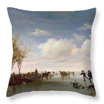 Dutch Landscape With Skaters Throw Pillow by Salomon van Ruysdael