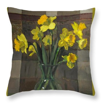 Dutch Master Narcissus In An Hourglass Vase Throw Pillow