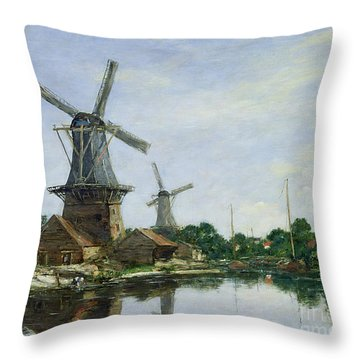 Dutch Windmills Throw Pillow by Eugene Louis Boudin