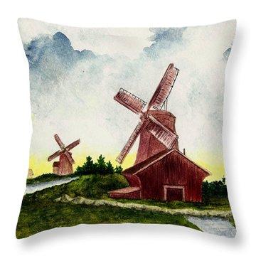Dutch Windmills Throw Pillow by Michael Vigliotti