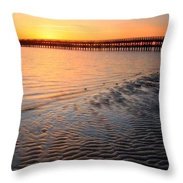 Duxbury Beach Powder Point Bridge Sunset Throw Pillow