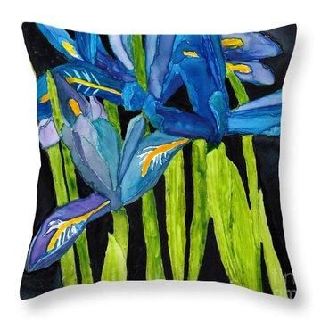 Dwarf Iris Watercolor On Yupo Throw Pillow
