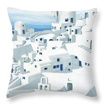Dwellings, Santorini - Prints From Original Oil Painting Throw Pillow