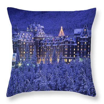 D.wiggett Banff Springs Hotel In Winter Throw Pillow