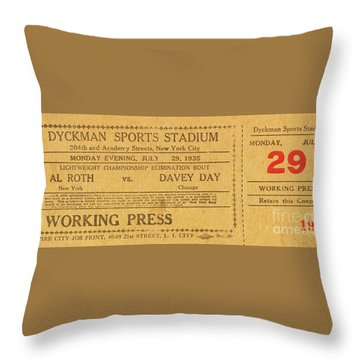 Dyckman Oval Ticket Throw Pillow by Cole Thompson
