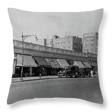 Throw Pillow featuring the photograph Dyckman Street, 1927 by Cole Thompson