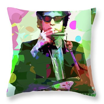 Dylan In Studio Throw Pillow by David Lloyd Glover