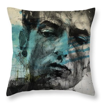 Dylan - Retro  Maggies Farm No More Throw Pillow