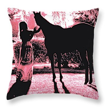 Dylly And Lizzy Pink Throw Pillow by Valerie Rosen