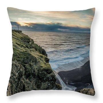 Dyrholaey Light House Throw Pillow by Allen Biedrzycki